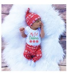 Christmas Newborn Baby Boy Snowflake Romper Pants Leggings Hat