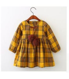 Keelorn Girls Dress Autumn Winter Brand Girl Clothes Plaid Fur Ball Bow