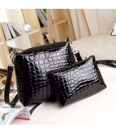 Women's Artificial Leather Embossed Messenger Bags 2pcs/set Clutch Shoulder/Hand Bag