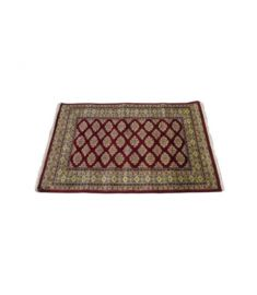 Bukhara Hand Knotted Silk Wool Rug 37 x 57 inches