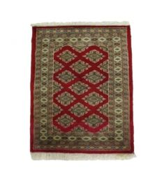 Bukhara Accent Hand Knotted Silk Wool Rug 25 x 30 inches