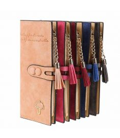 Women Synthetic Leather Card Holder Long Trifold Wallet Clutch