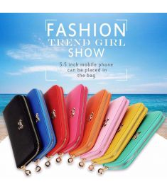 Women Fashion Synthetic Leather Zip Around Solid Purse Credit ID Card Holder Long Clutch