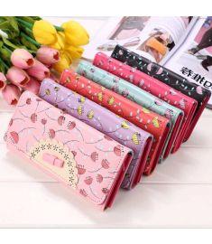 Women Sweet Floral Design Bowknot Mobile Bag Card Holder Clutch
