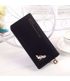 Women Synthetic Leather Foldable Purse Credit Card Holder Long Clutch