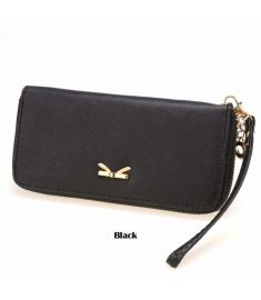 Women Synthetic Leather Zipper Around Organizer Casual Phone Wallet Clutch Purse