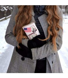Women Synthetic Leather Scrawl Clutch Wallet Purse Handbag
