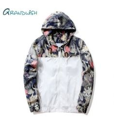 Floral Jacket Autumn Mens Hooded Jackets Slim Fit Long Sleeve Homme Trendy Windbreaker Coat