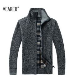 Winter Men's SweaterCoat Faux Fur Wool Sweater Jackets Men Zipper Knitted Thick Coat
