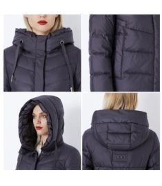 Winter Women's Jacket Thick Layer Bio Fluff a Sewn Hood Warm Women's Coat