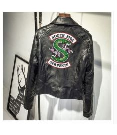 Logo Southside Riverdale Serpents Pink/Black PU Leather Jackets Women