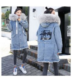 Warm Winter Bomber Women Hooded Coat Jeans Denim Jackets Thick Cotton