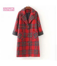 Woolen coat long loose casual women's jacket Single-breasted lapel red