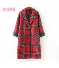 Woolen coat long loose casual women's jacket Single-breasted lapel red