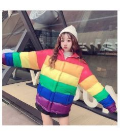 New women stand collar rainbow striped down jacket fashion