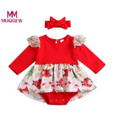MUQGEW Newborn Baby Boy Lace Romper Bodysuit Tutu Dress