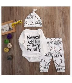 Newborn Infant Baby boy clothes Christmas Family letter printed Rompers Pants Hat Outfit Clothes