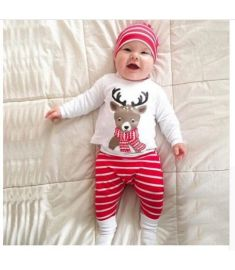 FASHION Newborn Baby Boy Christmas Deer Print Tops+Pant+Cap Outfits Clothes Set