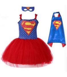 Summer Superman Batman Girls Tutu Dress with Mask Super Hero Inspired Baby Costume Kids