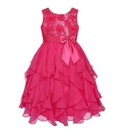 Baby Girl Dresses Red Sequin Big Bow Baby Party Dress