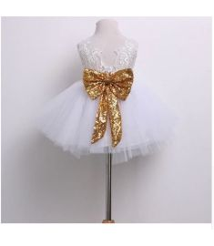 Kids Baby Girl Sequins Boknot Dress Party Dresses Christmas Costume Dress