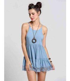 Women Lace Backless Waist Pleated Mini Dress