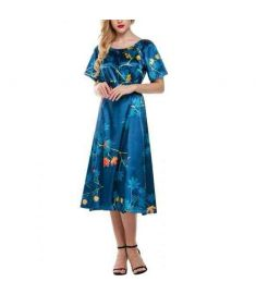 Women Short Sleeve Leaf Print Long Casual Party Dress With Belt