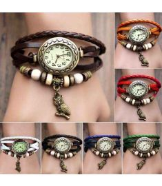 Women Leather Wrist Watch Bracelet
