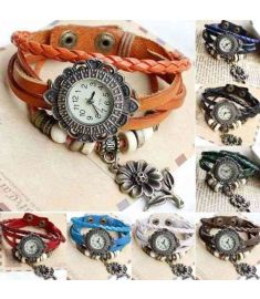 Quartz Sunflower Weave Wrap Synthetic Leather Bracelet for Women