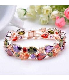 Fashion Rose Gold Plated Multicolor Zircon Bracelet