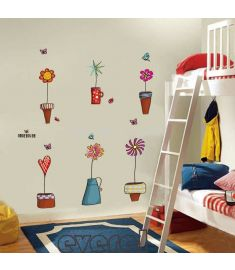 Cartoon Flower Butterfly wall Stickers Removable art decals