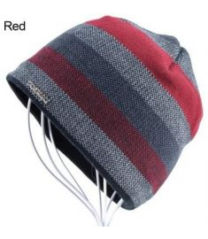 2017 Men's Skullies Hat Bonnet Winter Beanie Knitted Wool Hat Plus Velvet Cap Thicker Stripe Ski Sports Beanies Hats for men