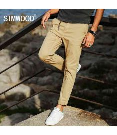 Spring New Cotton Casual Pants Men Slim Fit Fashion Trousers Plus Size Brand Clothing