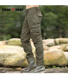 Freearmy Brand Casual Tapered Cargo Pants Full Length Mens Pants