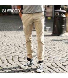 Fashion Brand Men Clothing Casual Slim Fit Cotton Long Pants