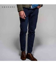 U&Shark Korean Street Fashion Skinny Navy Blue Pants