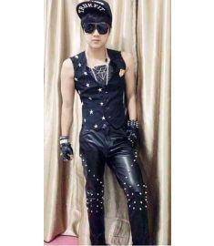 fashion men Clothing Plus size male singer dj ds costume rivet slim genuine leather pants