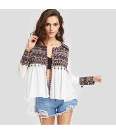 Boho Blouses for Women Embroidered Yoke and Cuff Coin Kimono