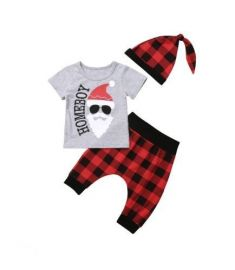 Christmas Newborn Baby Boy T shirt Tops+Harem Pants 3pcs Outfits Set Clothes