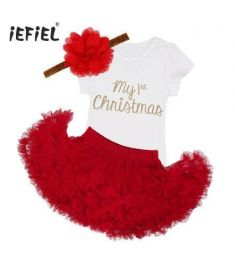 Newborn Baby Infant Boys Toddler My First Christmas Outfits Romper