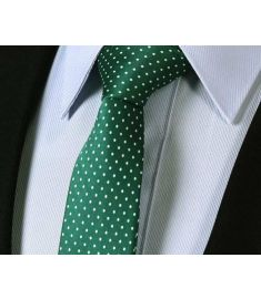 "Green Polka Dot 2.4"" 100%Silk Woven Slim Skinny Narrow Men Tie Necktie Handkerchief Pocket Square Suit Set"