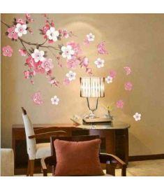 Sakura Flower Bedroom Room Vinyl Decal Art DIY Home Decor Wall Sticker Removable Stickers Transparent Poster Wallpaper