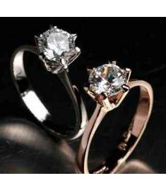 18K Gold Plated Classic design 1 carat 6mm simulated diamond ring