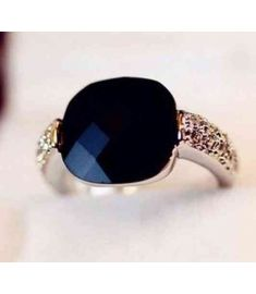 Fashion Retro Black Agate Gem Imitation Diamond Rings