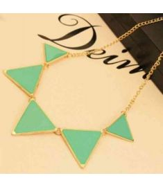 Punk Pink Green Blue Oil Triangle Multicolour Necklace  Jewelry