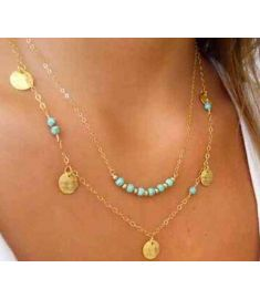 Choker Gold Plated Turquoise Personality Infinity Beads Necklaces
