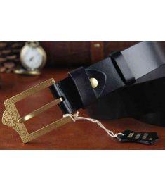 Solid Brass Buckle Genuine Leather Brand Men Medusa Belt