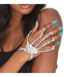 Silver And Golden Hand Bone Of Skeleton Bracelets