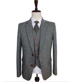 Grey Classic Tweed Tailor Wedding 3 Piece Suit For Men