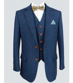 Wool Blue Custom Made 3 Piece Men's Suit